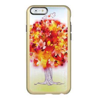 Árbol del otoño y pájaros lindos en amor funda para iPhone 6 plus incipio feather shine