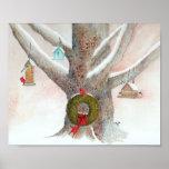 Árbol del pájaro del navidad impresiones