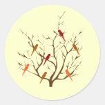 Árbol del pájaro pegatina redonda