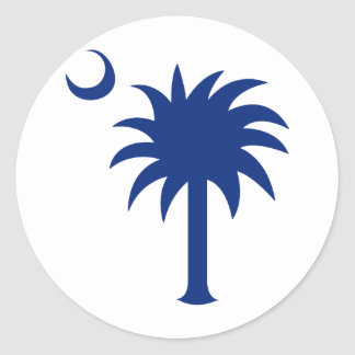Árbol del Palmetto de Carolina del Sur Etiquetas Redondas