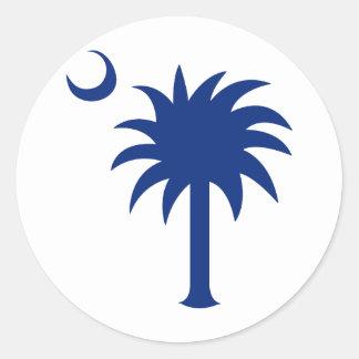 Árbol del Palmetto de Carolina del Sur Pegatina Redonda