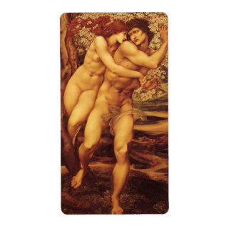 Árbol del perdón Burne Jones Victorian del vintag Etiquetas De Envío