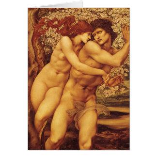 Árbol del perdón Burne Jones Victorian del vintag Felicitación