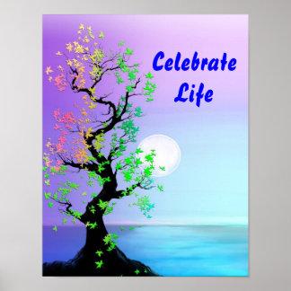 Árbol del poster de la luna de la vida