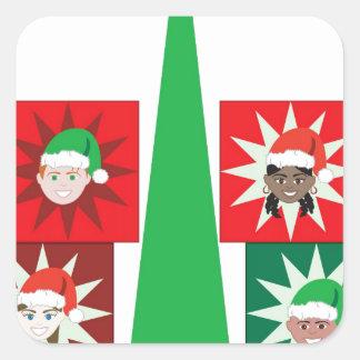 Árbol del presente del niño del navidad pegatina cuadrada