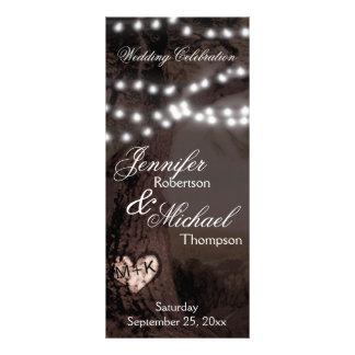Árbol del programa el | del boda con las luces del diseño de tarjeta publicitaria
