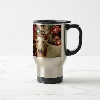 árbol del regalo de Navidad de bull terrier Taza Térmica