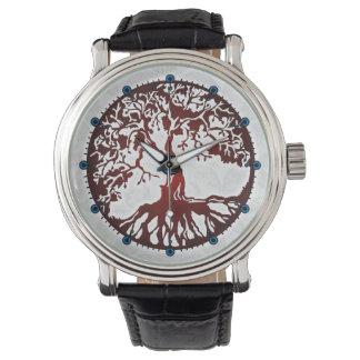 Árbol del reloj de la correa de cuero del negro de
