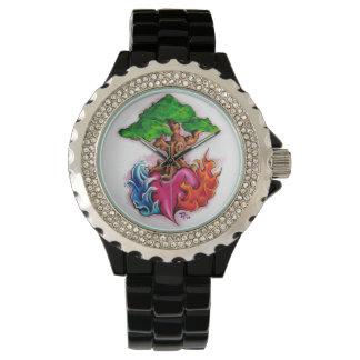 Árbol del reloj del diamante artificial del negro