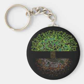 Árbol del resplandor de la vida llavero redondo tipo pin