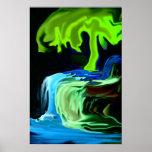Árbol del resplandor y extracto de neón de la casc posters