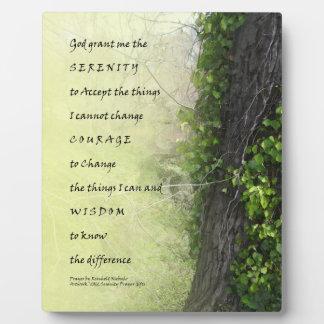 Árbol del rezo de la serenidad y placa de la regue