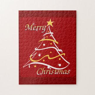 Árbol del rojo de las Felices Navidad Rompecabeza Con Fotos