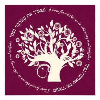 """Árbol del rojo hebreo del boda judío de la vida invitación 5.25"""" x 5.25"""""""