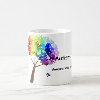 Árbol del rompecabezas del arco iris de la concien taza