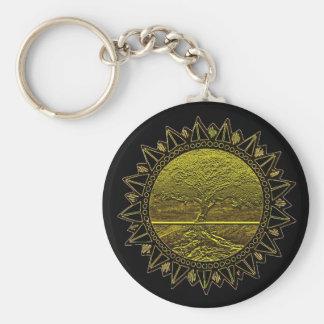 Árbol del saludo de Sun de la vida Llavero Redondo Tipo Pin