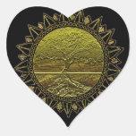 Árbol del saludo de Sun de la vida Pegatina En Forma De Corazón