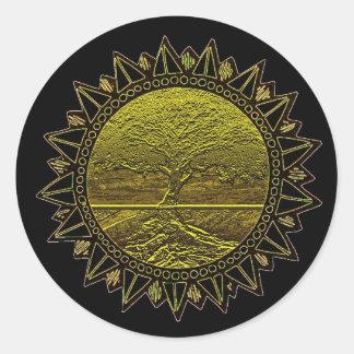 Árbol del saludo de Sun de la vida Etiquetas Redondas