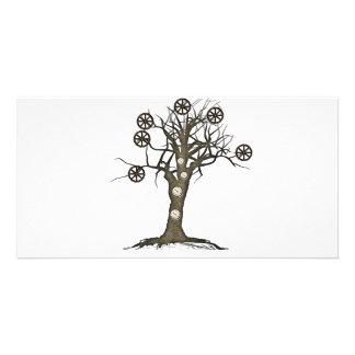árbol del steampunk tarjeta fotografica