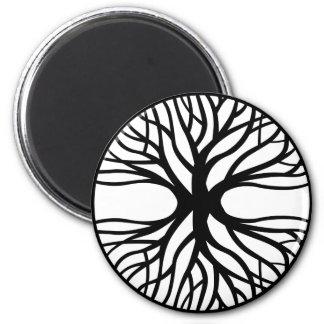 Árbol del tatuaje de la vida imán redondo 5 cm