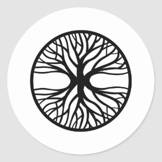 Árbol del tatuaje de la vida pegatina redonda