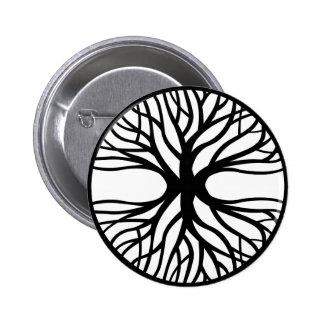 Árbol del tatuaje de la vida pin redondo 5 cm