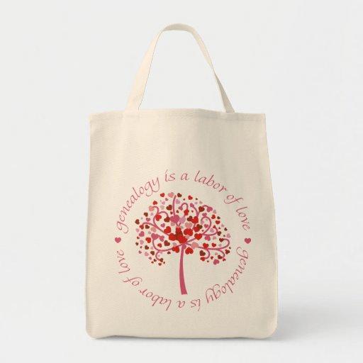 Árbol del trabajo de amor bolsa tela para la compra