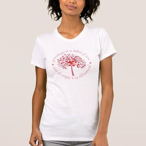 Árbol del trabajo de amor camiseta