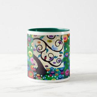 Árbol del tributo de Klimt de la vida Taza Dos Tonos