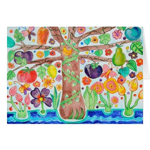 Árbol del verde de la tarjeta de felicitación de l