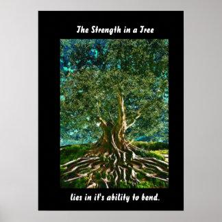 Árbol del verde de la vida póster