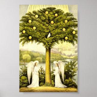 Árbol del vintage del ejemplo cristiano 1892 de la posters