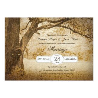 Árbol del vintage que talla la invitación del boda