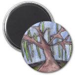 Árbol deprimido lánguido de la impresión 8 en el m imán de nevera
