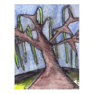 Árbol deprimido lánguido de la impresión 8 en el tarjeta postal