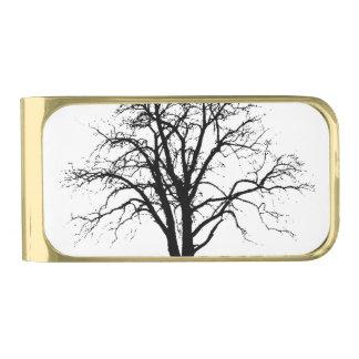 Árbol deshojado en silueta del invierno clip para billetes dorado
