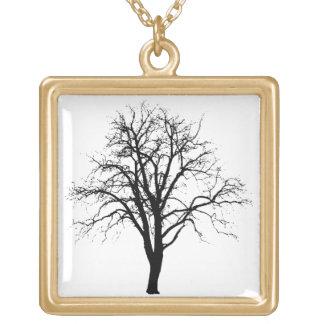 Árbol deshojado en silueta del invierno pendientes personalizados