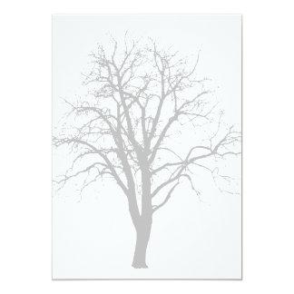 """Árbol deshojado en silueta del invierno invitación 5"""" x 7"""""""