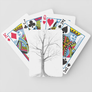 Árbol desnudo baraja cartas de poker