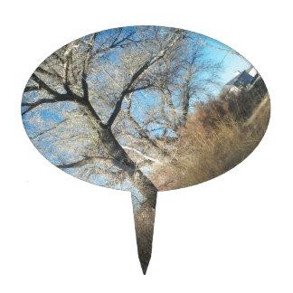 Árbol distante decoración para tarta