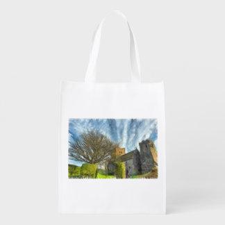 Árbol e iglesia bolsa reutilizable
