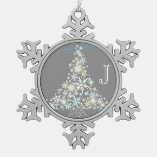 Árbol elegante del copo de nieve + Ornamentos del  Adornos