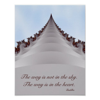 Árbol elevado en el poster de motivación de Buda d