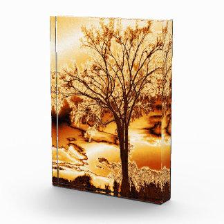 Árbol en el oro fundido - acrílico de la belleza d