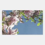 Árbol en flor pegatina rectangular