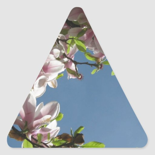 Árbol en flor pegatina triangular