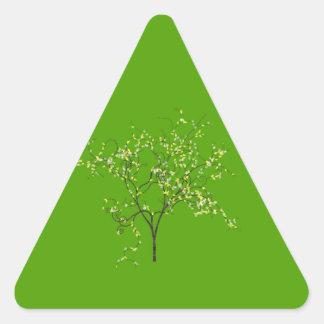 Árbol en fondo verde calcomania triangulo personalizadas