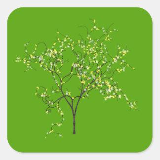 Árbol en fondo verde calcomanías cuadradases