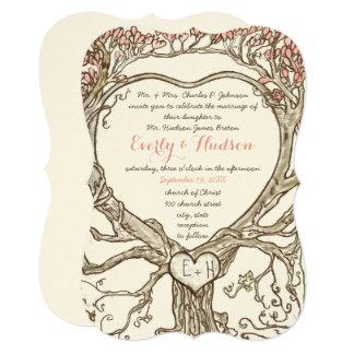"""Árbol en forma de corazón del bosque mágico invitación 5"""" x 7"""""""