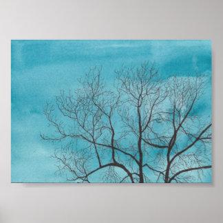 Árbol en invierno póster
